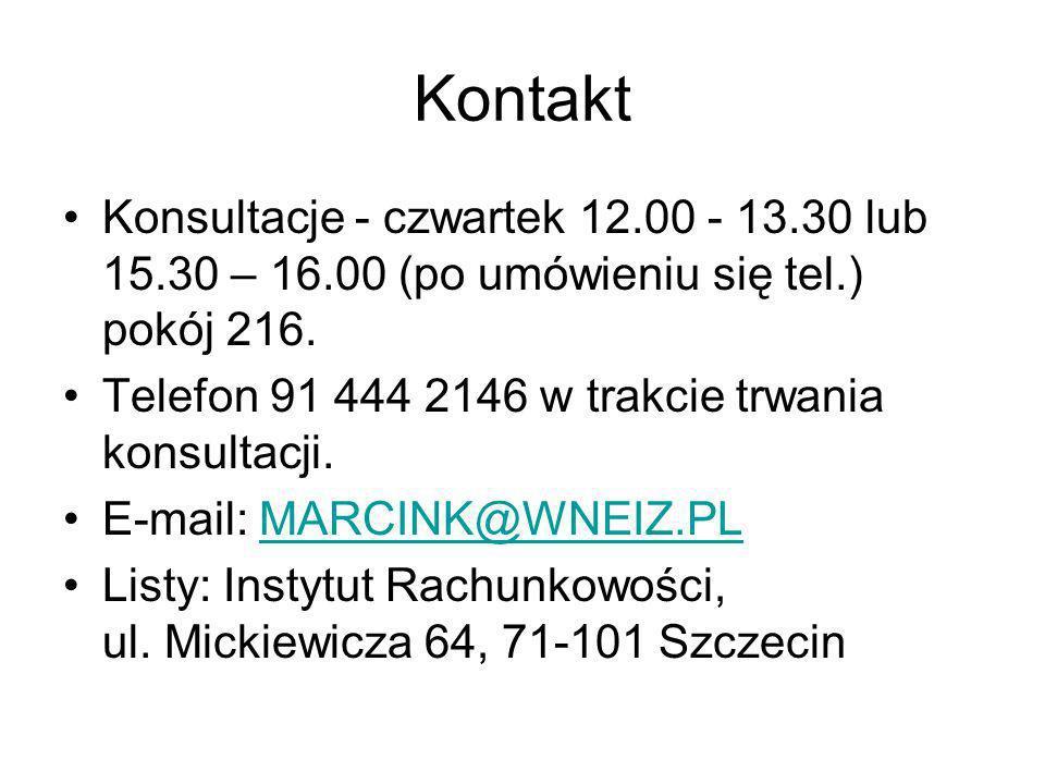 Kontakt Konsultacje - czwartek 12.00 - 13.30 lub 15.30 – 16.00 (po umówieniu się tel.) pokój 216. Telefon 91 444 2146 w trakcie trwania konsultacji. E