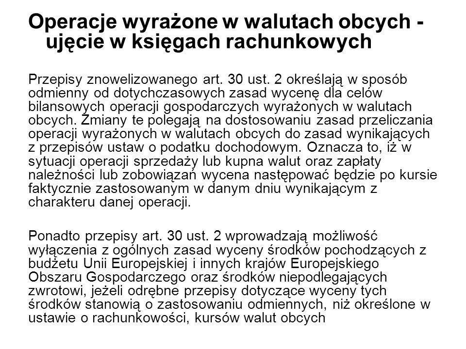 Operacje wyrażone w walutach obcych - ujęcie w księgach rachunkowych Przepisy znowelizowanego art. 30 ust. 2 określają w sposób odmienny od dotychczas