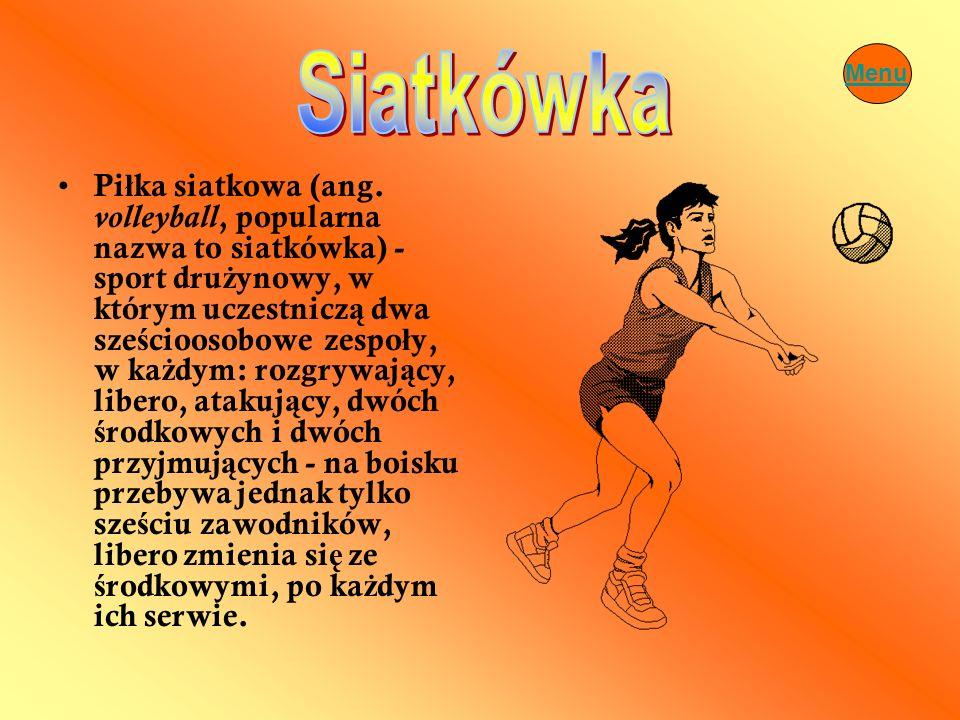 Pi ł ka siatkowa (ang. volleyball, popularna nazwa to siatkówka) - sport dru ż ynowy, w którym uczestnicz ą dwa sze ś cioosobowe zespo ł y, w ka ż dym