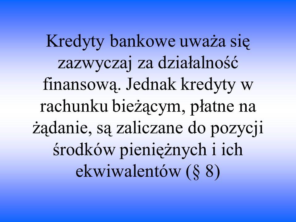 Kredyty bankowe uważa się zazwyczaj za działalność finansową. Jednak kredyty w rachunku bieżącym, płatne na żądanie, są zaliczane do pozycji środków p