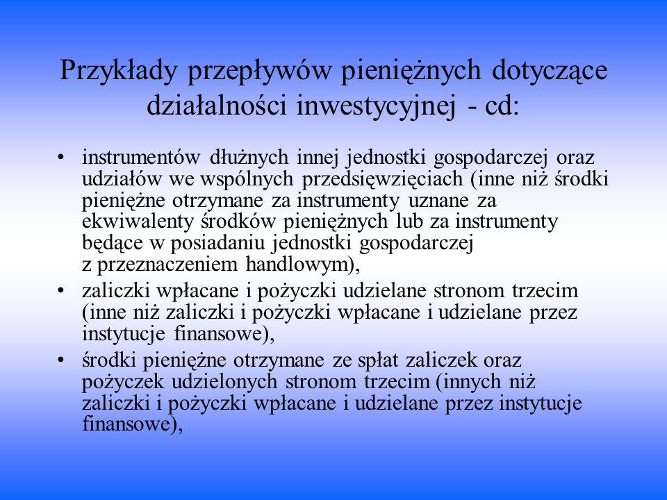 Przykłady przepływów pieniężnych dotyczące działalności inwestycyjnej - cd: instrumentów dłużnych innej jednostki gospodarczej oraz udziałów we wspóln