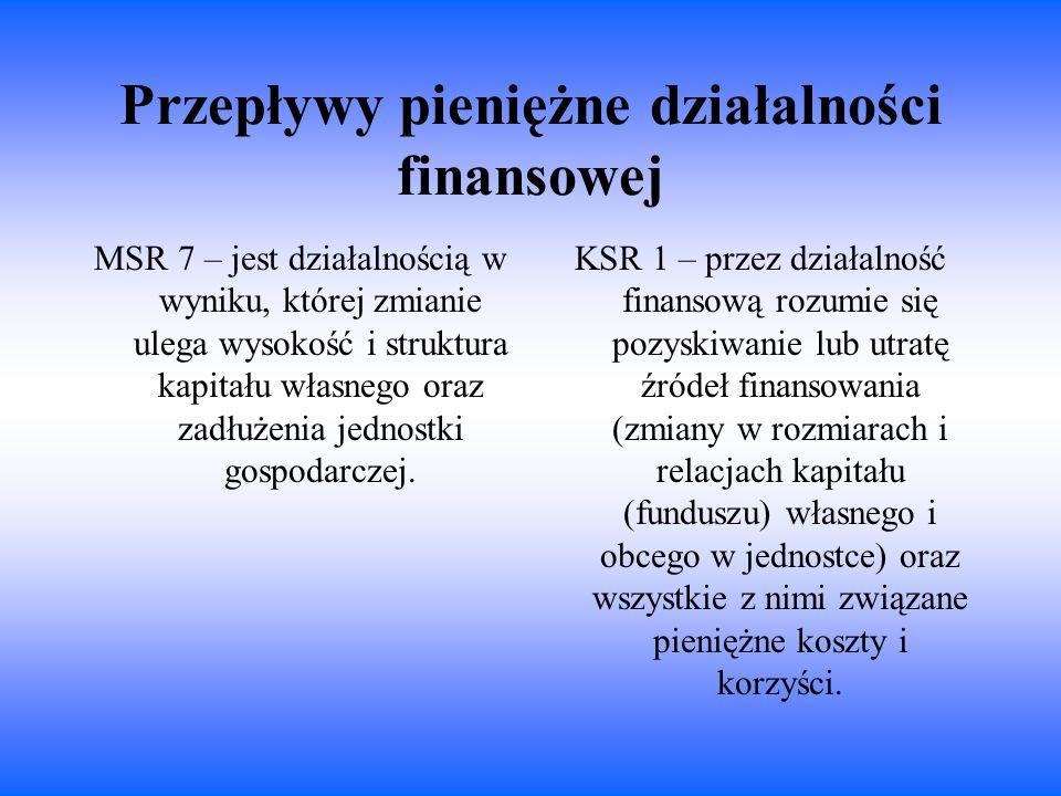 Przepływy pieniężne działalności finansowej MSR 7 – jest działalnością w wyniku, której zmianie ulega wysokość i struktura kapitału własnego oraz zadł