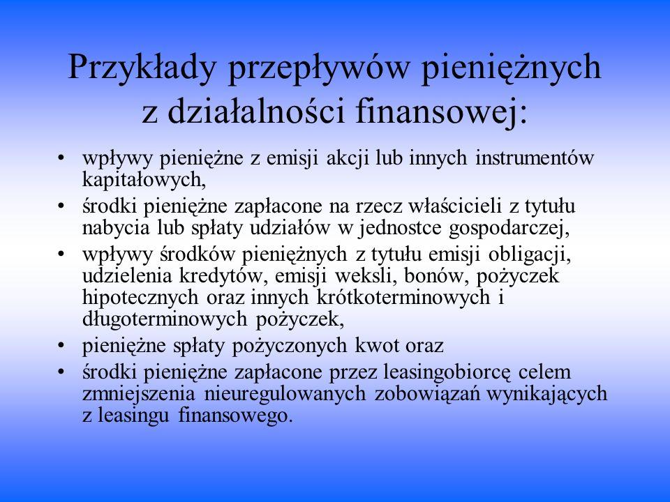 Przykłady przepływów pieniężnych z działalności finansowej: wpływy pieniężne z emisji akcji lub innych instrumentów kapitałowych, środki pieniężne zap