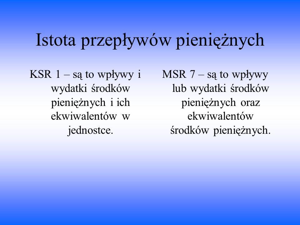 Istota przepływów pieniężnych KSR 1 – są to wpływy i wydatki środków pieniężnych i ich ekwiwalentów w jednostce. MSR 7 – są to wpływy lub wydatki środ