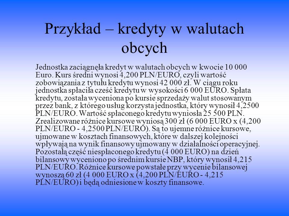 Przykład – kredyty w walutach obcych Jednostka zaciągnęła kredyt w walutach obcych w kwocie 10 000 Euro. Kurs średni wynosi 4,200 PLN/EURO, czyli wart