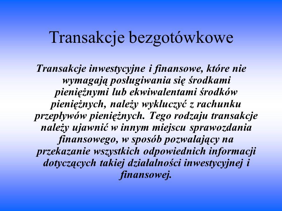 Transakcje bezgotówkowe Transakcje inwestycyjne i finansowe, które nie wymagają posługiwania się środkami pieniężnymi lub ekwiwalentami środków pienię
