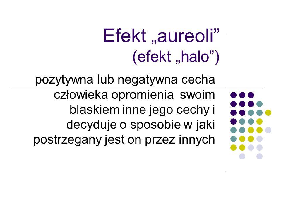 Efekt aureoli (efekt halo) pozytywna lub negatywna cecha człowieka opromienia swoim blaskiem inne jego cechy i decyduje o sposobie w jaki postrzegany