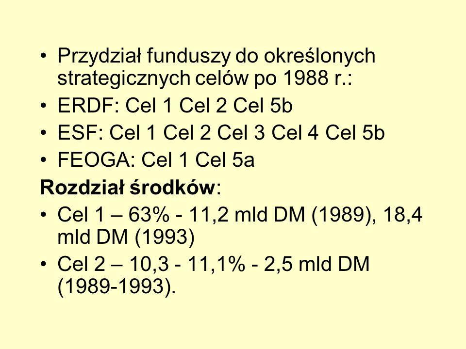 Przydział funduszy do określonych strategicznych celów po 1988 r.: ERDF: Cel 1 Cel 2 Cel 5b ESF: Cel 1 Cel 2 Cel 3 Cel 4 Cel 5b FEOGA: Cel 1 Cel 5a Ro