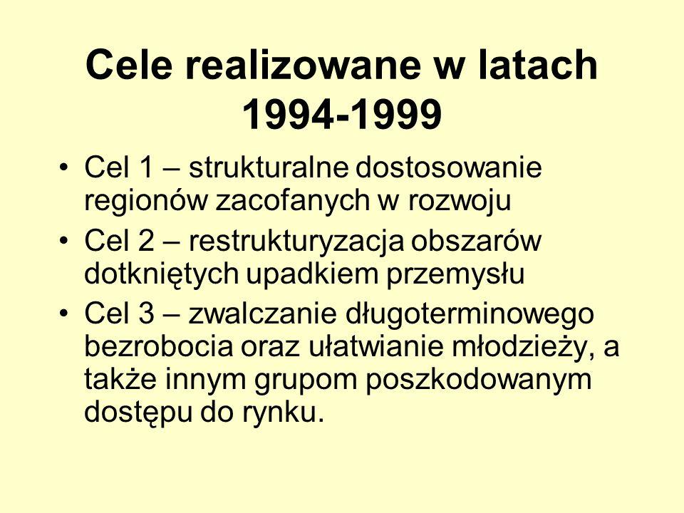 Cele realizowane w latach 1994-1999 Cel 1 – strukturalne dostosowanie regionów zacofanych w rozwoju Cel 2 – restrukturyzacja obszarów dotkniętych upad