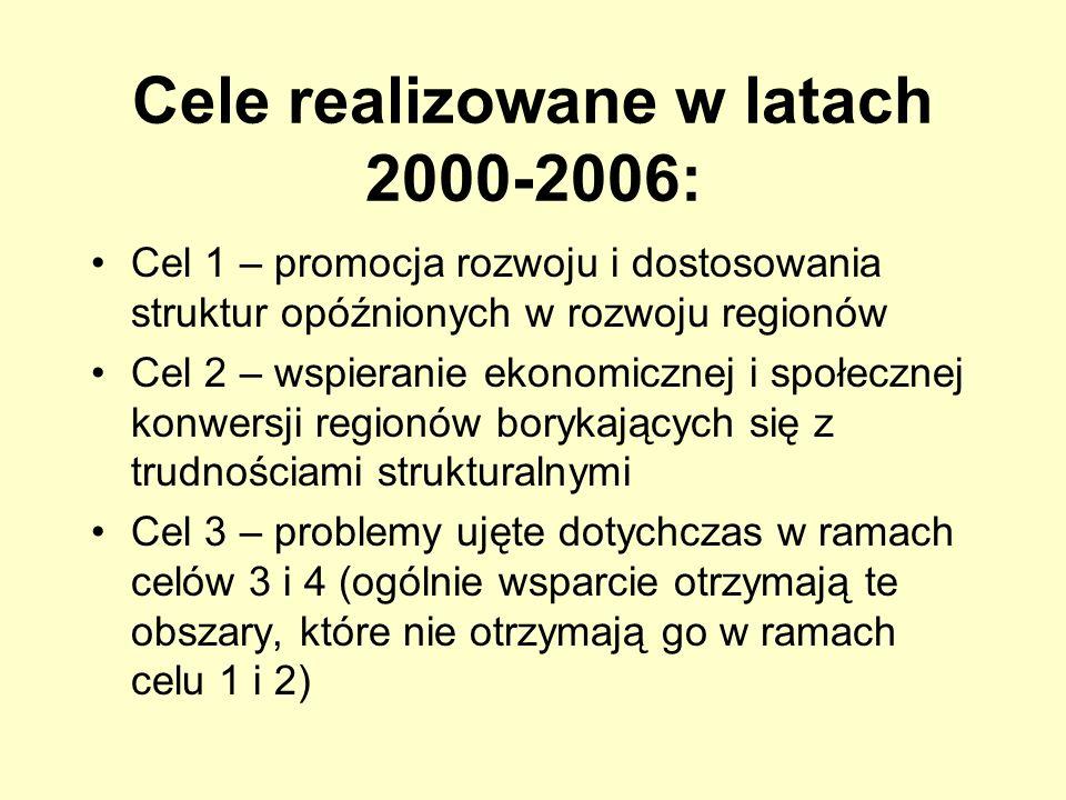Cele realizowane w latach 2000-2006: Cel 1 – promocja rozwoju i dostosowania struktur opóźnionych w rozwoju regionów Cel 2 – wspieranie ekonomicznej i