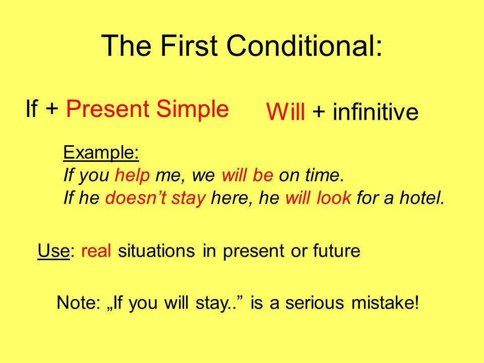 The Second Conditional If + Past Simple Would + infinitive Example: If you helped me, we would be on time.