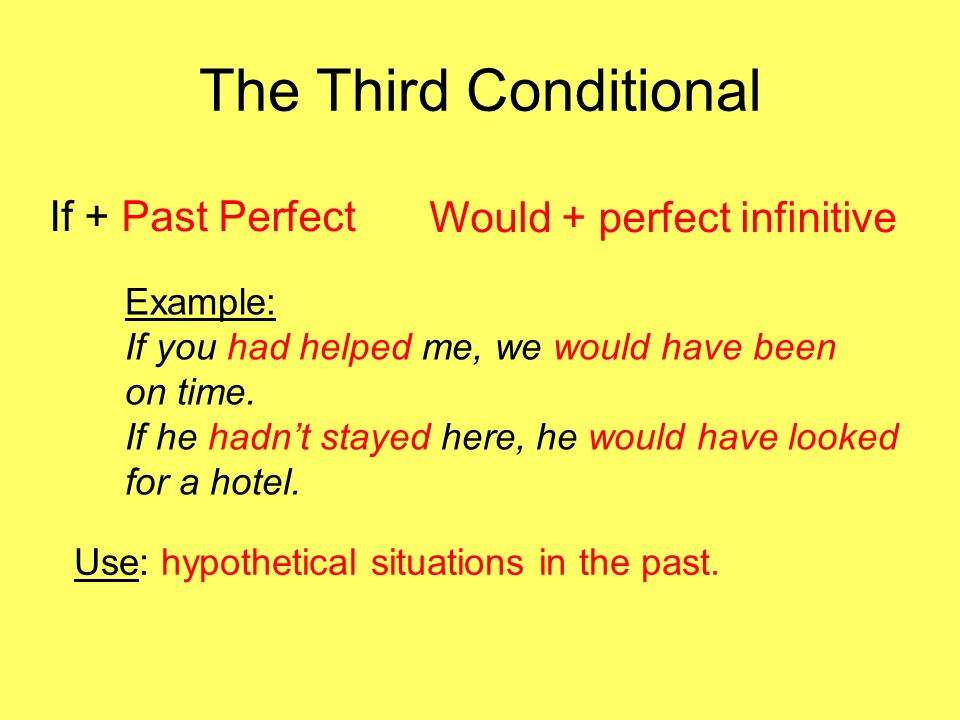 The Third Conditional If + Past Perfect Would + perfect infinitive Example: If you had helped me, we would have been on time. If he hadnt stayed here,