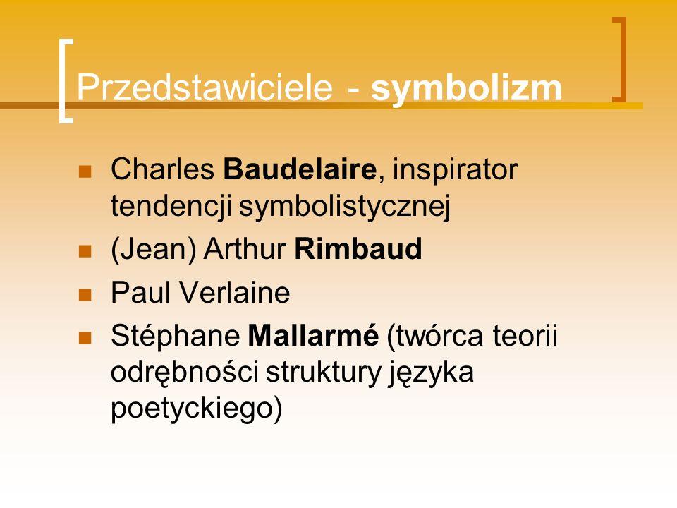 Przedstawiciele - symbolizm Charles Baudelaire, inspirator tendencji symbolistycznej (Jean) Arthur Rimbaud Paul Verlaine Stéphane Mallarmé (twórca teo