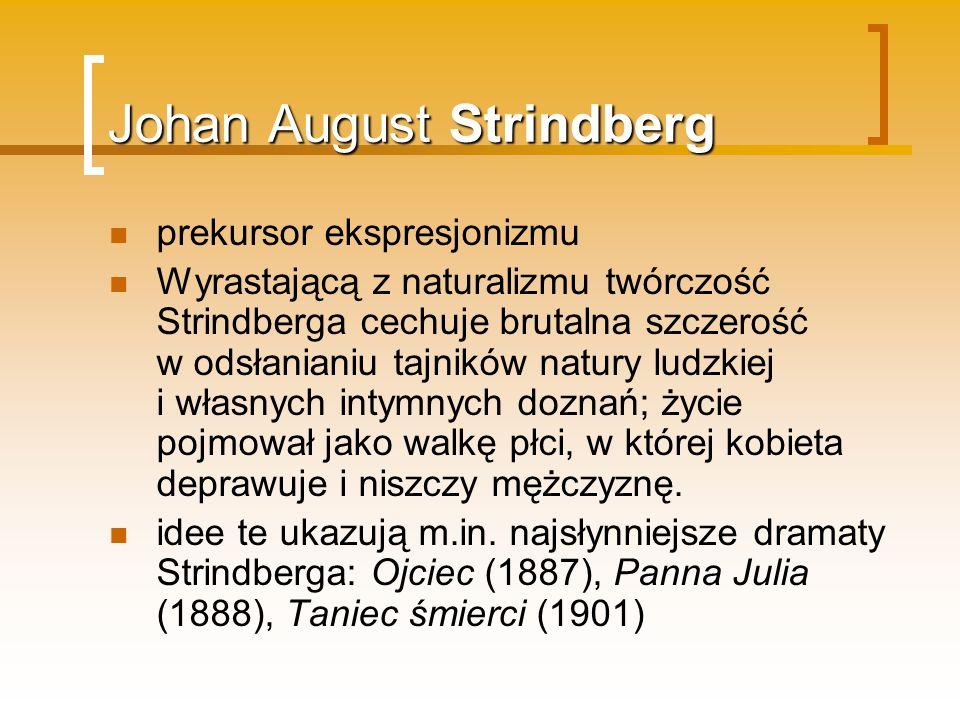 Johan August Strindberg prekursor ekspresjonizmu Wyrastającą z naturalizmu twórczość Strindberga cechuje brutalna szczerość w odsłanianiu tajników nat