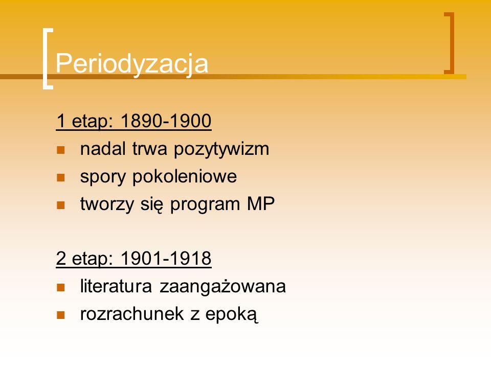 Periodyzacja 1 etap: 1890-1900 nadal trwa pozytywizm spory pokoleniowe tworzy się program MP 2 etap: 1901-1918 literatura zaangażowana rozrachunek z e