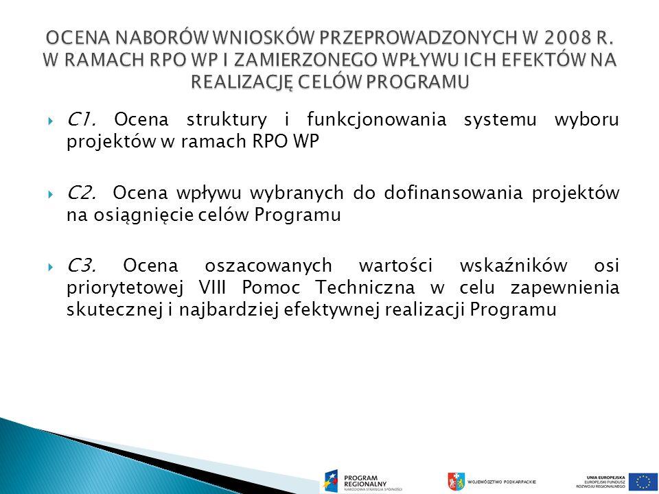 C1. Ocena struktury i funkcjonowania systemu wyboru projektów w ramach RPO WP C2.