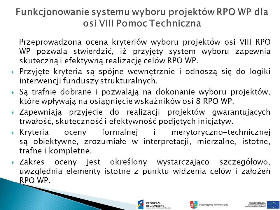 Przeprowadzona ocena kryteriów wyboru projektów osi VIII RPO WP pozwala stwierdzić, iż przyjęty system wyboru zapewnia skuteczną i efektywną realizację celów RPO WP.