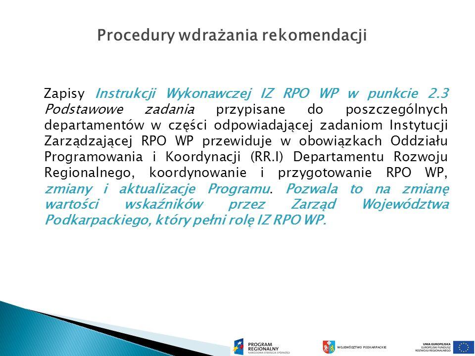 Zapisy Instrukcji Wykonawczej IZ RPO WP w punkcie 2.3 Podstawowe zadania przypisane do poszczególnych departamentów w części odpowiadającej zadaniom Instytucji Zarządzającej RPO WP przewiduje w obowiązkach Oddziału Programowania i Koordynacji (RR.I) Departamentu Rozwoju Regionalnego, koordynowanie i przygotowanie RPO WP, zmiany i aktualizacje Programu.