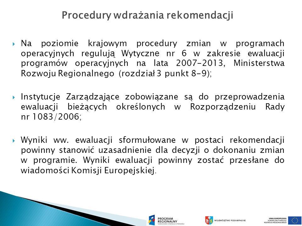 Na poziomie krajowym procedury zmian w programach operacyjnych reguluj ą Wytyczn e nr 6 w zakresie ewaluacji programów operacyjnych na lata 2007-2013, Ministerstwa Rozwoju Regionalnego ( rozdzia ł 3 punkt 8-9 ); Instytucje Zarządzające zobowiązane są do przeprowadzenia ewaluacji bieżących określonych w Rozporządzeniu Rady nr 1083/2006 ; Wyniki ww.