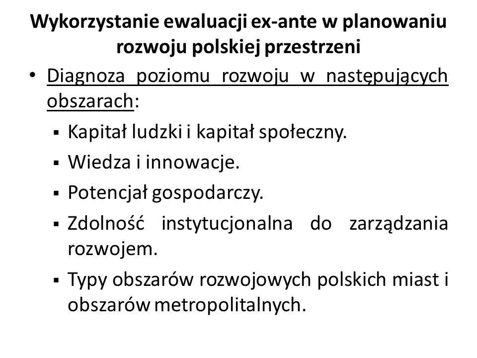 Wykorzystanie ewaluacji ex-ante w planowaniu rozwoju polskiej przestrzeni Diagnoza poziomu rozwoju w następujących obszarach: Kapitał ludzki i kapitał