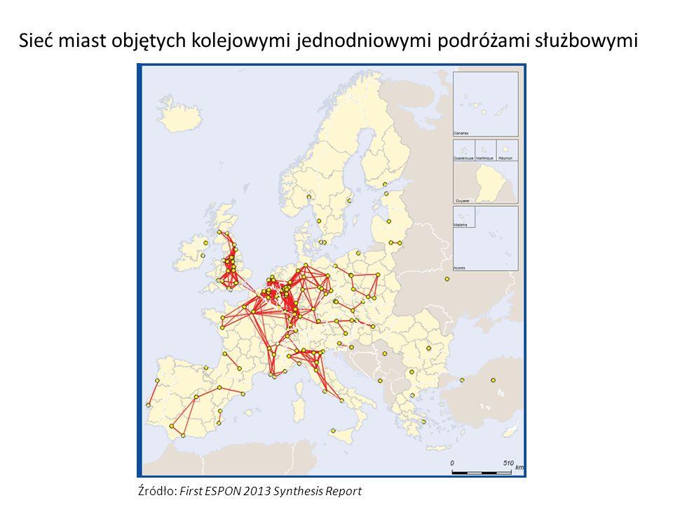 Sieć miast objętych kolejowymi jednodniowymi podróżami służbowymi Źródło: First ESPON 2013 Synthesis Report