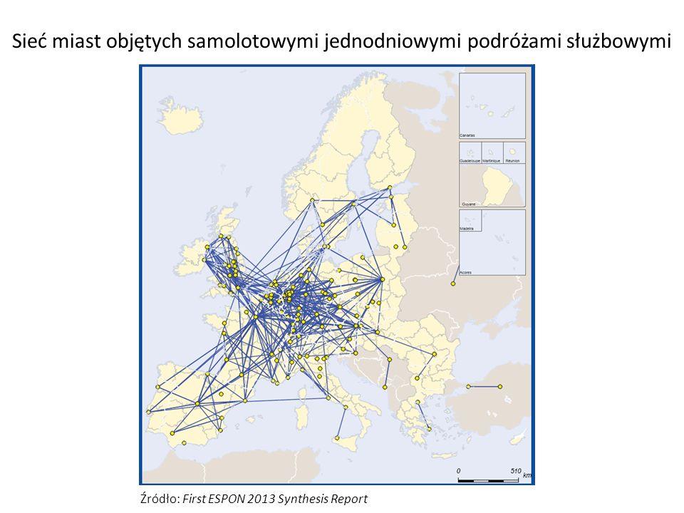 Sieć miast objętych samolotowymi jednodniowymi podróżami służbowymi Źródło: First ESPON 2013 Synthesis Report