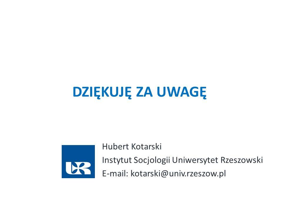 DZIĘKUJĘ ZA UWAGĘ Hubert Kotarski Instytut Socjologii Uniwersytet Rzeszowski E-mail: kotarski@univ.rzeszow.pl