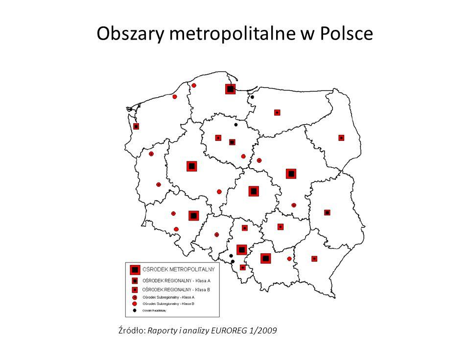 Obszary metropolitalne w Polsce Źródło: Raporty i analizy EUROREG 1/2009