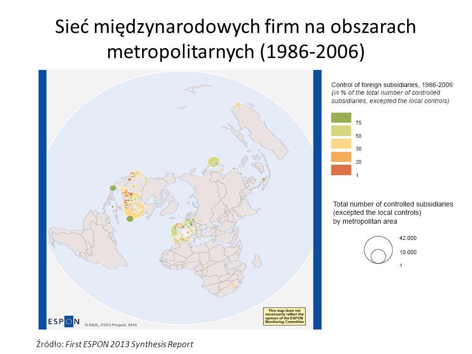 Sieć międzynarodowych firm na obszarach metropolitarnych (1986-2006) Źródło: First ESPON 2013 Synthesis Report