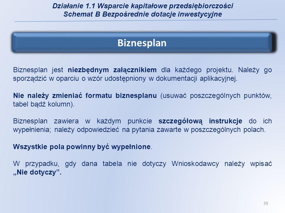 Załączniki do wniosku o dofinansowanie 1.Biznesplan 2.Formularz do wniosku o dofinansowanie w zakresie oceny oddziaływania na środowisko (OOŚ): załącznik jest obligatoryjny dla wszystkich Wnioskodawców; instrukcja wypełniania - załącznik II do Wytycznych Ministra Rozwoju Regionalnego w zakresie postępowania w sprawie oceny oddziaływania na środowisko dla przedsięwzięć współfinansowanych z krajowych lub regionalnych programów operacyjnych z dnia 5 maja 2009 r.; Działanie 1.1 Wsparcie kapitałowe przedsiębiorczości Schemat B Bezpośrednie dotacje inwestycyjne 40