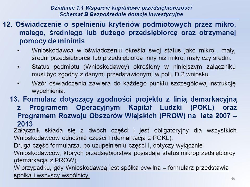 12. 12. Oświadczenie o spełnieniu kryteriów podmiotowych przez mikro, małego, średniego lub dużego przedsiębiorcę oraz otrzymanej pomocy de minimis Wn