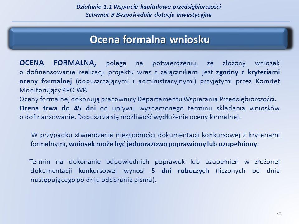 Działanie 1.1 Wsparcie kapitałowe przedsiębiorczości Schemat B Bezpośrednie dotacje inwestycyjne Ocena merytoryczna projektu OCENA MERYTORYCZNA, przeprowadzana jest przez Komisje konkursowe składające się z ekspertów, dokonujących oceny zgodnie z kryteriami określonymi przez Instytucję Zarządzającą Regionalnym Programem Operacyjnym Województwa Podkarpackiego na lata 2007-2013 i zatwierdzonymi przez Komitet Monitorujący.