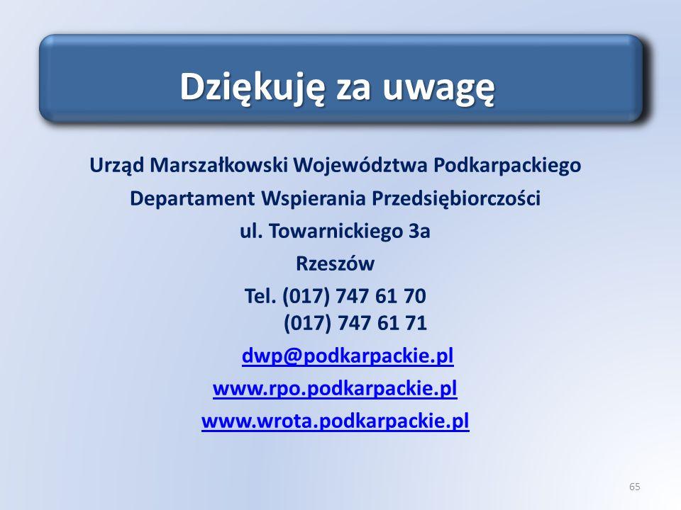 Urząd Marszałkowski Województwa Podkarpackiego Departament Wspierania Przedsiębiorczości ul. Towarnickiego 3a Rzeszów Tel. (017) 747 61 70 (017) 747 6