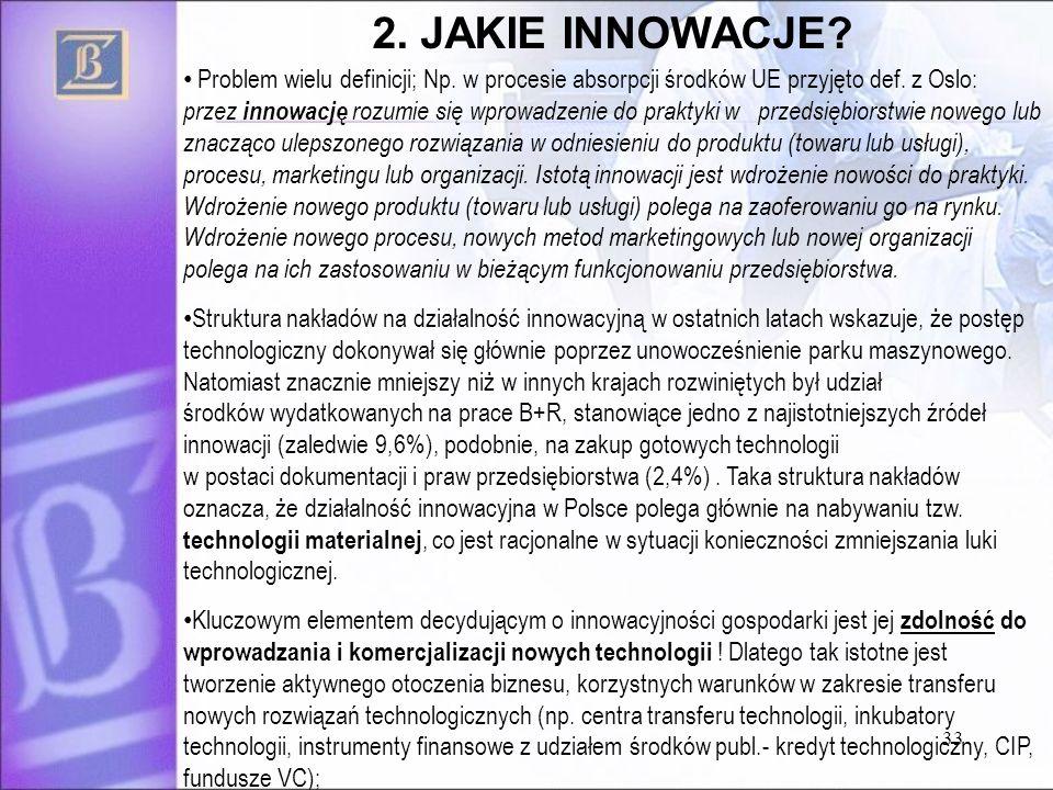 33 Problem wielu definicji; Np. w procesie absorpcji środków UE przyjęto def. z Oslo: przez innowację rozumie się wprowadzenie do praktyki w przedsięb