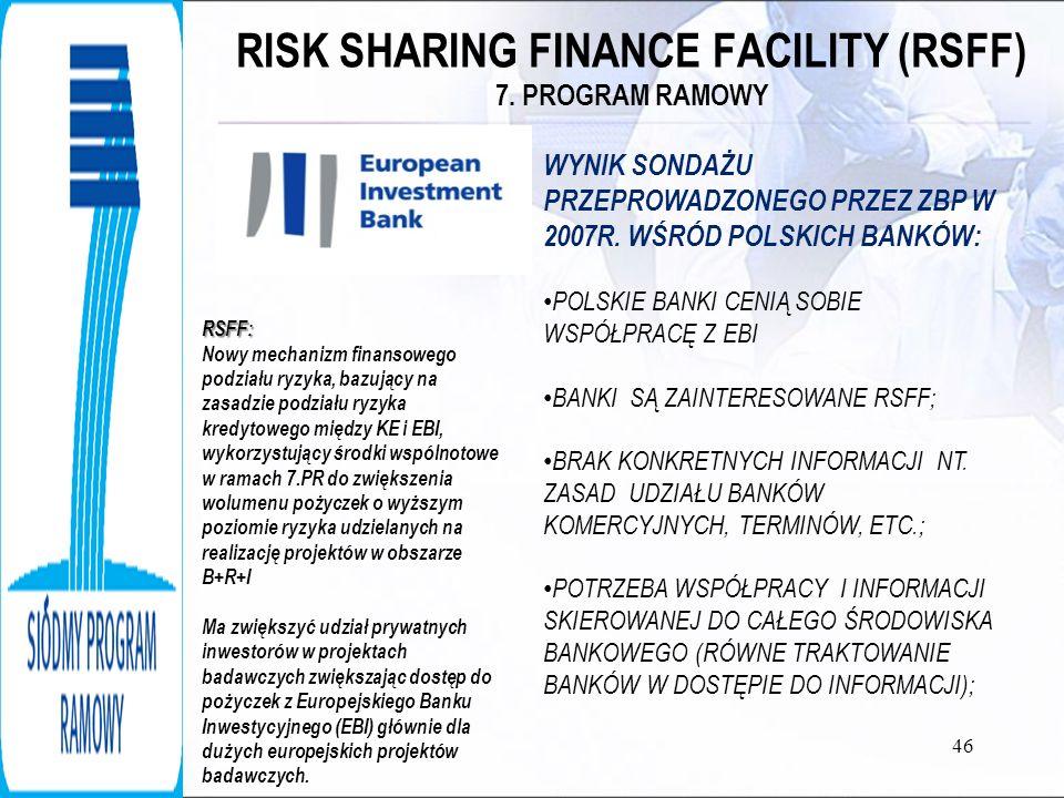 RISK SHARING FINANCE FACILITY (RSFF) 7. PROGRAM RAMOWY 46 WYNIK SONDAŻU PRZEPROWADZONEGO PRZEZ ZBP W 2007R. WŚRÓD POLSKICH BANKÓW: POLSKIE BANKI CENIĄ