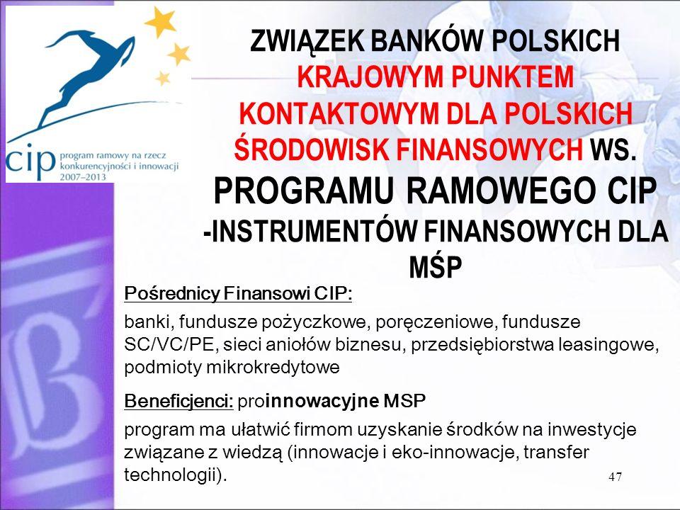 47 ZWIĄZEK BANKÓW POLSKICH KRAJOWYM PUNKTEM KONTAKTOWYM DLA POLSKICH ŚRODOWISK FINANSOWYCH WS. PROGRAMU RAMOWEGO CIP -INSTRUMENTÓW FINANSOWYCH DLA MŚP
