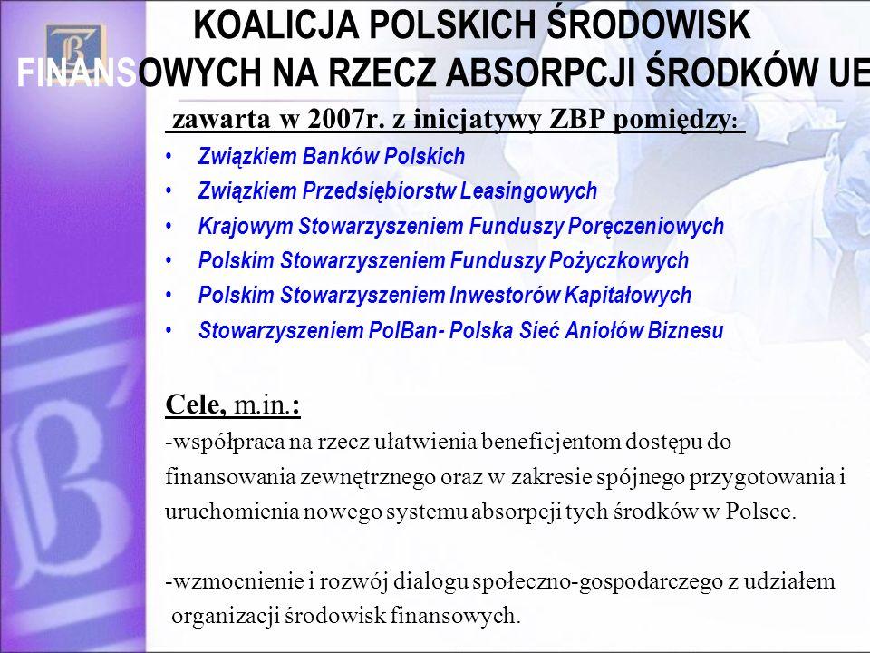 KOALICJA POLSKICH ŚRODOWISK FINANSOWYCH NA RZECZ ABSORPCJI ŚRODKÓW UE zawarta w 2007r. z inicjatywy ZBP pomiędzy : Związkiem Banków Polskich Związkiem