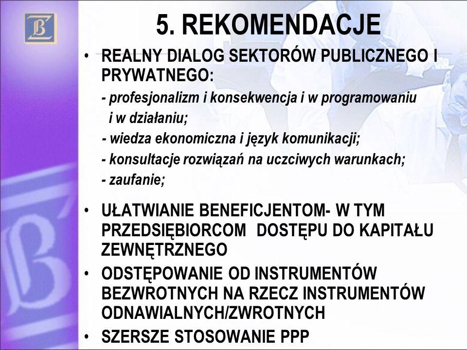 5. REKOMENDACJE REALNY DIALOG SEKTORÓW PUBLICZNEGO I PRYWATNEGO: - profesjonalizm i konsekwencja i w programowaniu i w działaniu; - wiedza ekonomiczna