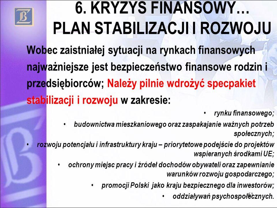 6. KRYZYS FINANSOWY… PLAN STABILIZACJI I ROZWOJU Wobec zaistniałej sytuacji na rynkach finansowych najważniejsze jest bezpieczeństwo finansowe rodzin