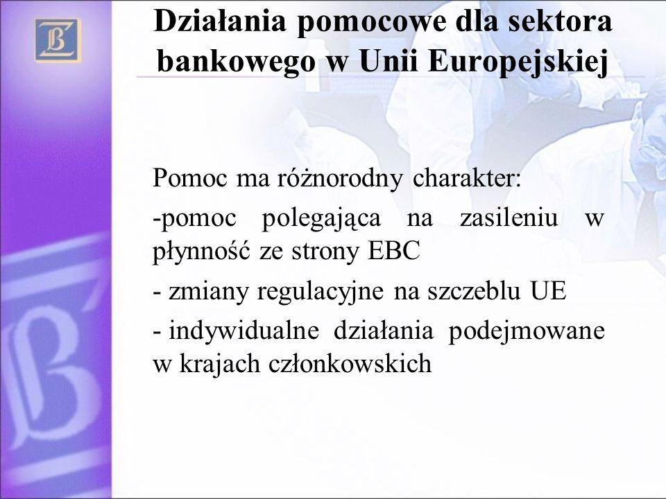 Działania pomocowe dla sektora bankowego w Unii Europejskiej Pomoc ma różnorodny charakter: -pomoc polegająca na zasileniu w płynność ze strony EBC - zmiany regulacyjne na szczeblu UE - indywidualne działania podejmowane w krajach członkowskich
