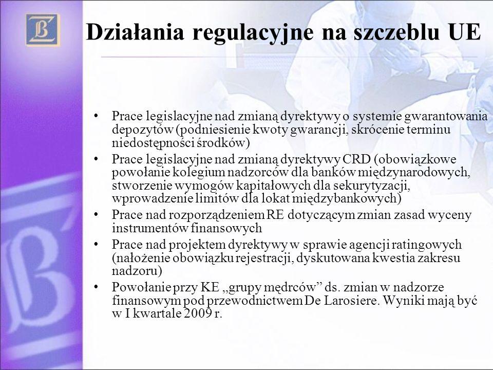 Działania regulacyjne na szczeblu UE Prace legislacyjne nad zmianą dyrektywy o systemie gwarantowania depozytów (podniesienie kwoty gwarancji, skrócenie terminu niedostępności środków) Prace legislacyjne nad zmianą dyrektywy CRD (obowiązkowe powołanie kolegium nadzorców dla banków międzynarodowych, stworzenie wymogów kapitałowych dla sekurytyzacji, wprowadzenie limitów dla lokat międzybankowych) Prace nad rozporządzeniem RE dotyczącym zmian zasad wyceny instrumentów finansowych Prace nad projektem dyrektywy w sprawie agencji ratingowych (nałożenie obowiązku rejestracji, dyskutowana kwestia zakresu nadzoru) Powołanie przy KE grupy mędrców ds.