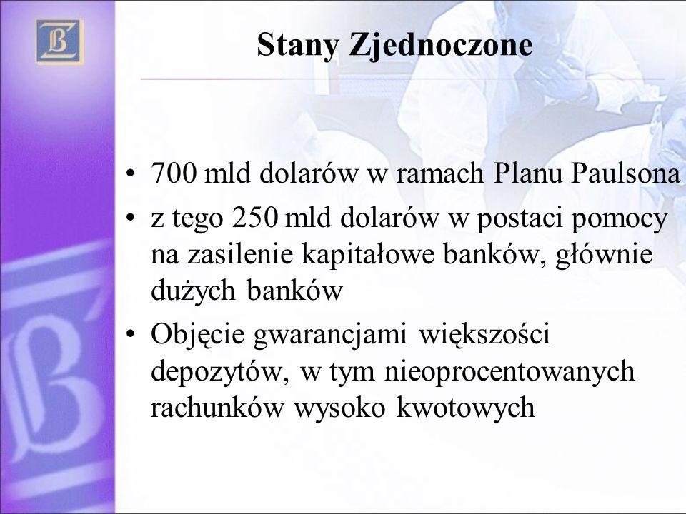 Stany Zjednoczone 700 mld dolarów w ramach Planu Paulsona z tego 250 mld dolarów w postaci pomocy na zasilenie kapitałowe banków, głównie dużych banków Objęcie gwarancjami większości depozytów, w tym nieoprocentowanych rachunków wysoko kwotowych