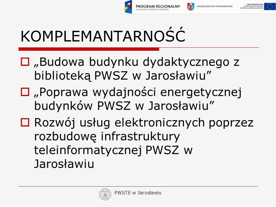 PWSTE w Jarosławiu KOMPLEMANTARNOŚĆ Budowa budynku dydaktycznego z biblioteką PWSZ w Jarosławiu Poprawa wydajności energetycznej budynków PWSZ w Jaros