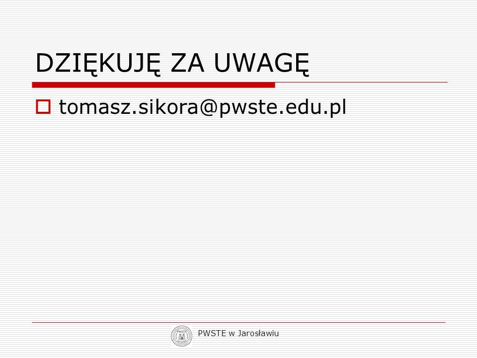 PWSTE w Jarosławiu DZIĘKUJĘ ZA UWAGĘ tomasz.sikora@pwste.edu.pl