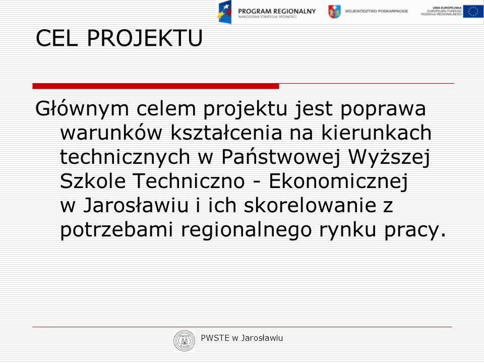 PWSTE w Jarosławiu CEL PROJEKTU Głównym celem projektu jest poprawa warunków kształcenia na kierunkach technicznych w Państwowej Wyższej Szkole Techni