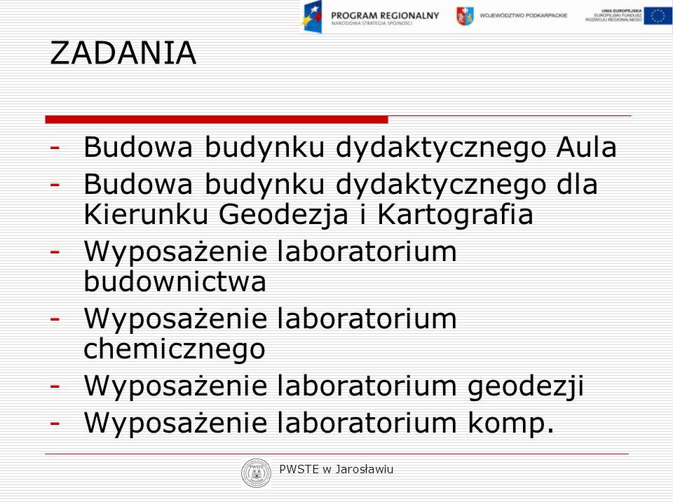 PWSTE w Jarosławiu ZADANIA -Budowa budynku dydaktycznego Aula -Budowa budynku dydaktycznego dla Kierunku Geodezja i Kartografia -Wyposażenie laborator
