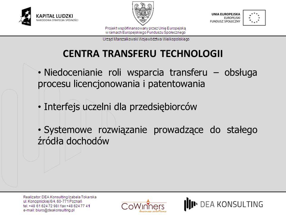 CENTRA TRANSFERU TECHNOLOGII Niedocenianie roli wsparcia transferu – obsługa procesu licencjonowania i patentowania Interfejs uczelni dla przedsiębior