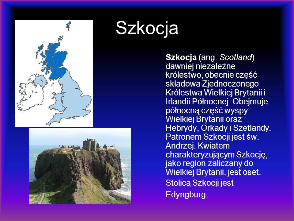Szkocja Szkocja (ang. Scotland) dawniej niezależne królestwo, obecnie część składowa Zjednoczonego Królestwa Wielkiej Brytanii i Irlandii Północnej. O