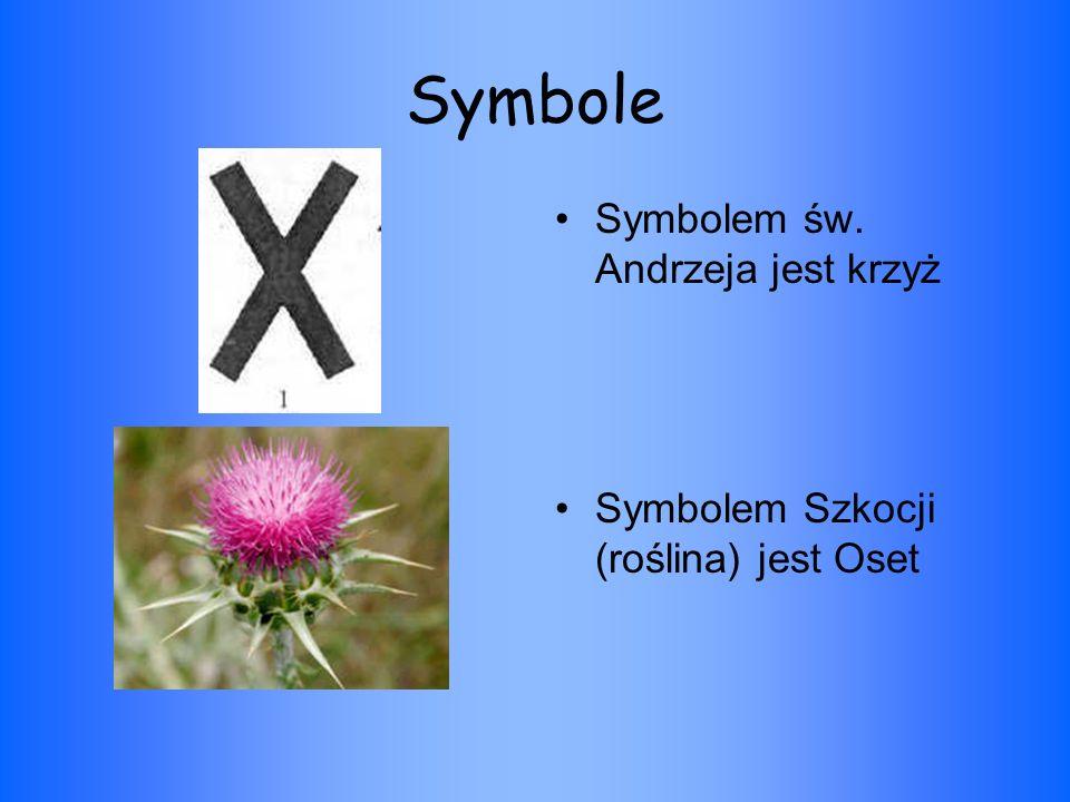 Symbole Symbolem św. Andrzeja jest krzyż Symbolem Szkocji (roślina) jest Oset