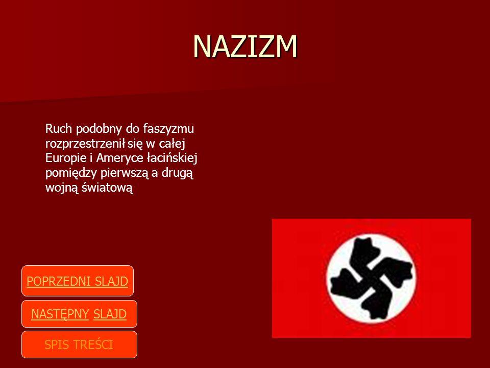 NAZIZM Ruch podobny do faszyzmu rozprzestrzenił się w całej Europie i Ameryce łacińskiej pomiędzy pierwszą a drugą wojną światową SPIS TREŚCI NASTĘPNY